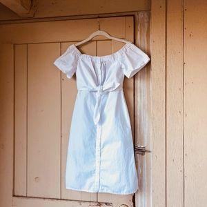NWOT White Poplin Bow Bardot Button Front Dress